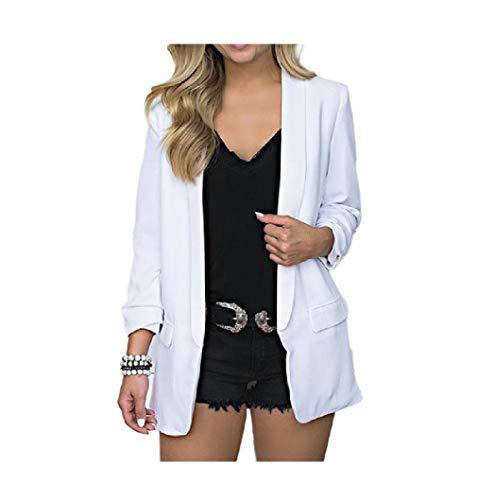 Abetteric Women Short Overcoat Pork Chop Pocket Long-Sleeve Solid Coats White M ()