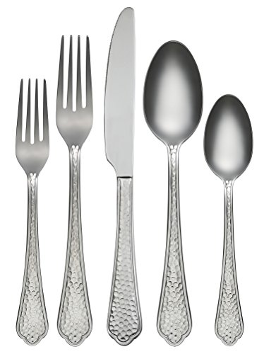 Farberware 45-Piece Pepper Mirror/Hammered Flatware Silverware Set, Stainless Steel, Service for 8, Includes Forks/Spoons/Knives ()