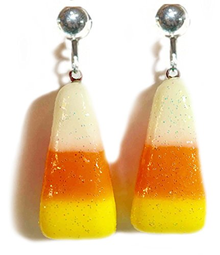Candy Corn Halloween Clip On Dangle Earrings (H230clip) -
