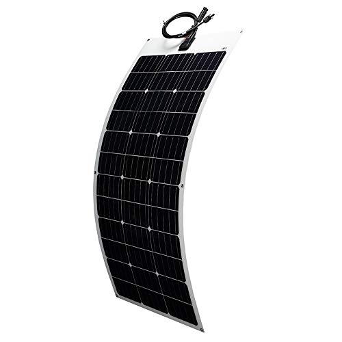 (Topunive Flexible Solar Panel 100W 12V Monocrystalline Bendable 100 Watt 12Volt Semi-Flexible Mono Solar Panels Charger Off-Grid for RV Boat Cabin Van Car Uneven Surfaces)