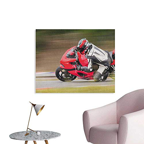 Anzhutwelve Teen Room Art Decor Decals Stickers Racing Motorcycle Athlete in Speed Turning on The Road Activity Colorful Picture Space Poster Multicolor W36 xL32 ()