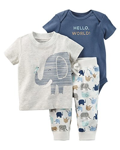 3 Piece Morgan (Carter's Baby Boys' 3 Piece Elephant Babysoft Bodysuit and Pants Set 24 Months)