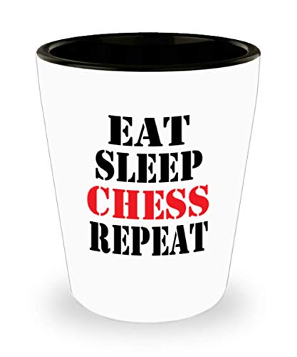 - White Ceramic Shot Glass Funny CHESS Coffee Mug - Unique Cool Cute Humor Sarcasm Designer Gift Idea for CHESS,al0787