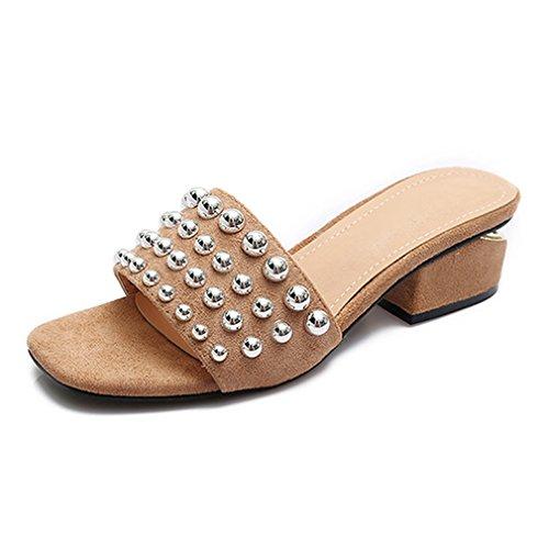 Femmes Brown Talons Chaussures Rivets Femmes D'été Sandales hauts Chaussures Femme Sandales Dames Mode Gladiateur Lumino Sandales Plage E4WqBB