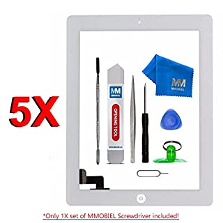 MMOBIEL Pack of 5 Digitizer Repair Kit Compatible with iPad 2 (White) 9.7 Inch Touchscreen Front Display Incl Tool kit