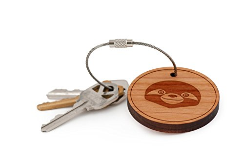 Sloth Face Keychain, Wood Twist Cable Keychain - Small -