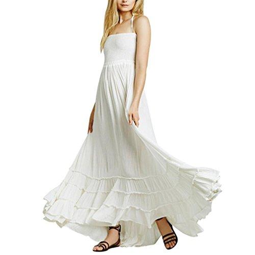 haoricu Women Dress, 2019 Womens Elegant Sexy Summer Strappy Backless Long Beach Ladies Dress White
