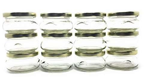 (3 oz 100 ml Tureen Clear Glass Jar with Gold Metal Lid by Richards Packaging 12-pack)