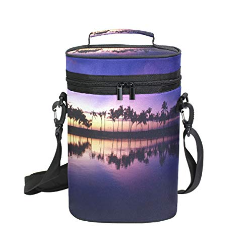 Wine Bag Hawaii Hike And Explore 2 Red Wine Travel Bag Insulated Wine Tote Carrier Cooler Bags with Handle and Adjustable Shoulder Strap