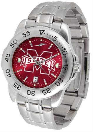 SunTime Mississippi State Bulldogs Sport Steel Band Ano-Chrome Men's Watch
