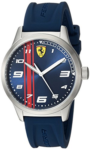 Ferrari Boy's Pitlane Quartz Stainless Steel and Silicone Strap Casual Watch, Color: Blue (Model: 810016)