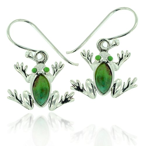 925 Oxidized Sterling Silver Green Turquoise Gemstone Frog Dangle Earrings ()