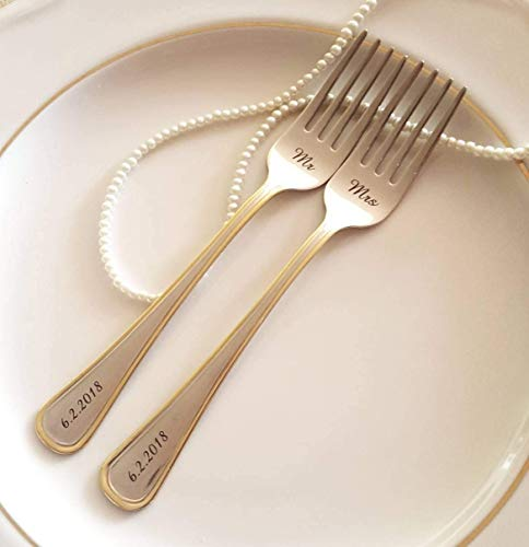 Silverware Wedding Gifts: Mr Mrs Forks Gold Wedding Dining Set Personalized Flatware