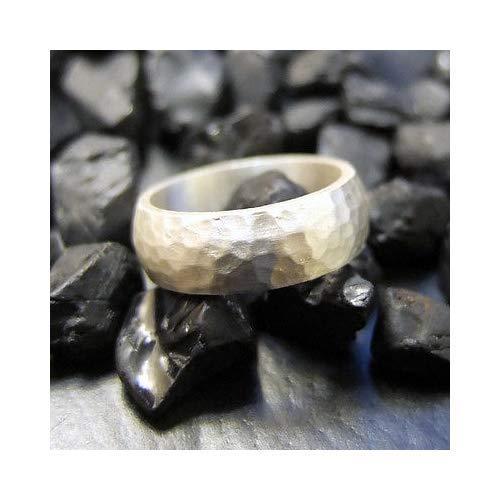 Ancient Design Handmade Hammered Designer 8mm Domed Wedding Band 925K Sterling ()