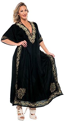 l454 spiaggia sera LA bagno LEELA costumi delle donne abito lunga coprire kaftan da Nero rayon da Designer costume del kimono bagno da rY1Awtx1q
