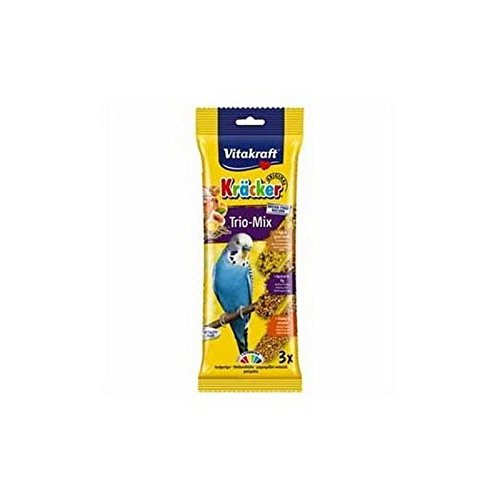Vitakraft Budgie Kracker Triple Pack with Honey, Egg and Apricot and Fig (80g)