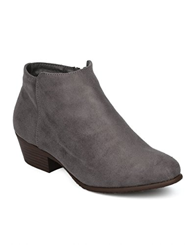Alrisco Women Low Heel Bootie - Basic Stacked Heel Ankle Boot - Casual Dressy Everyday Versatile Bootie - HE00 by Refresh Collection Grey Faux Suede