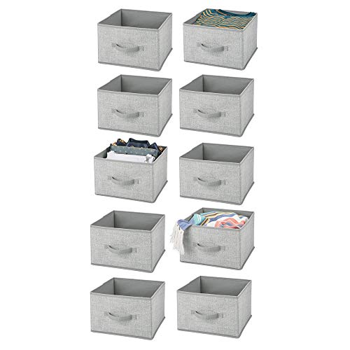 (mDesign Soft Fabric Closet Storage Organizer Holder Cube Bin Box, Open Top, Front Handle for Closet, Bedroom, Bathroom, Entryway, Office - Textured Print, 10 Pack - Gray )