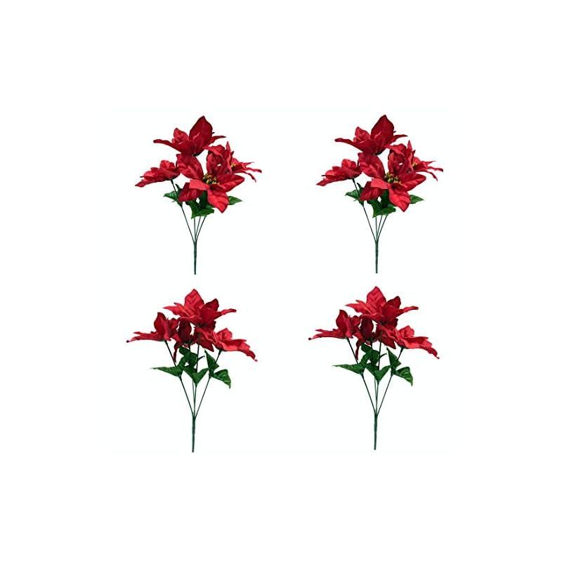"silk flower arrangements m2cbridge pack of 4 christmas red poinsettia bouquet bushes floral picks , height 13.8"""
