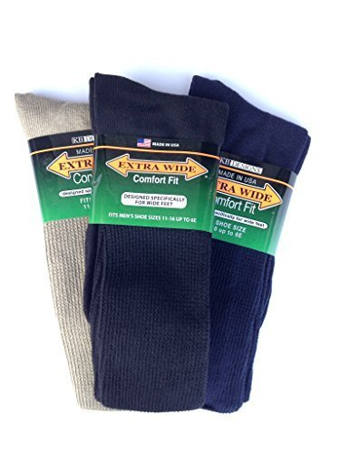 Extra Wide Athletic Crew Socks for Men (3 Pack) (11-16 (up to 6E wide), Variety (black navy tan)) ()
