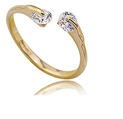 Buy GirlZ Rose Gold plated Twin Zircon CZ Diamond Engagement Ring
