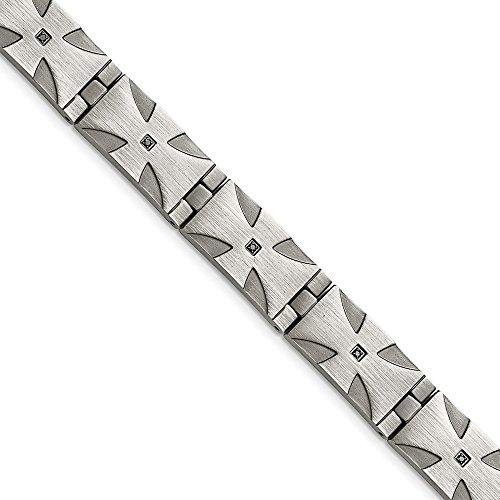 - Men's 13mm Stainless Steel & Black Diamond Cross Bracelet (0.1 Ctw, Black Color), 8.5 Inch
