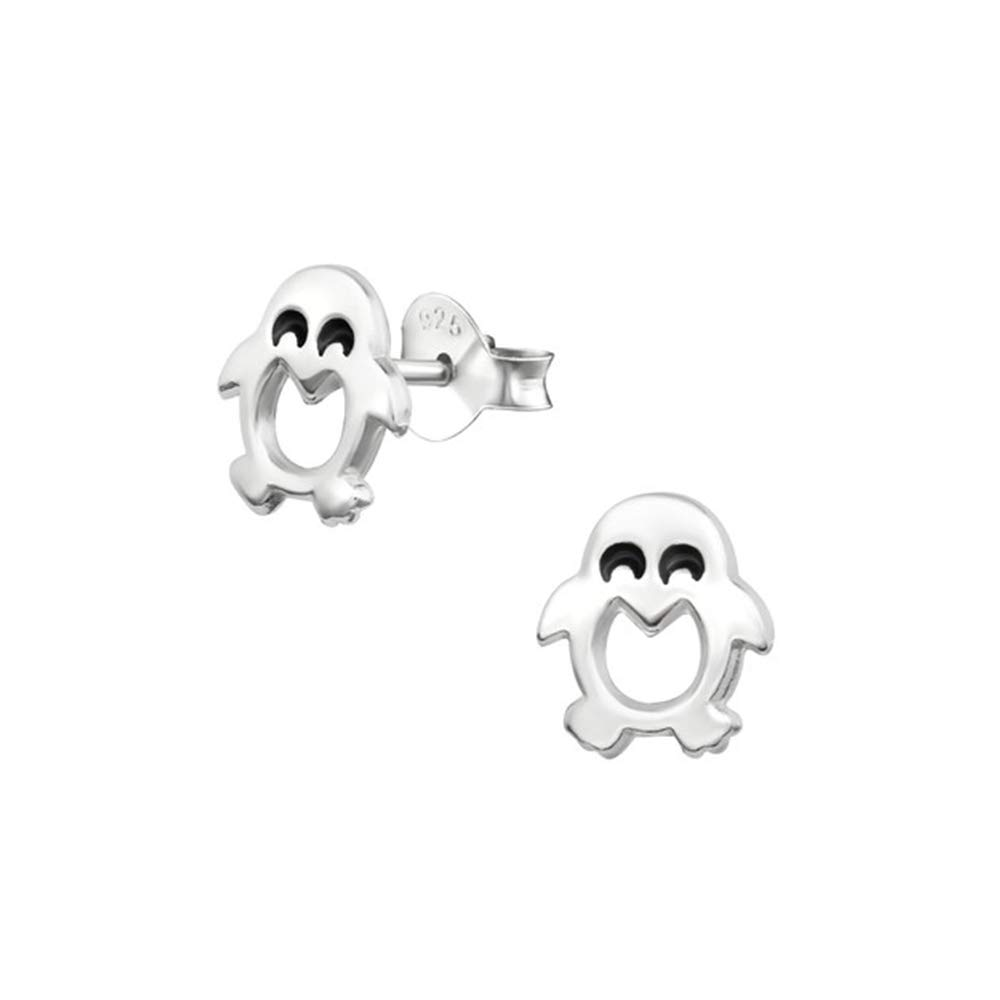 Girls Penguin Plain Ear Studs 925 Sterling Silver
