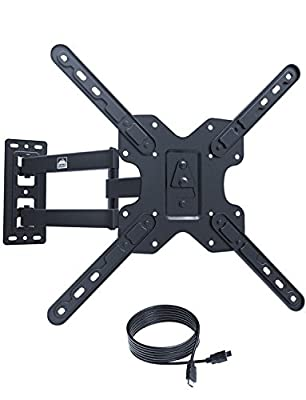 "Fortress Mount Articulating TV Wall Mount for 22-55"" TVs up to 100 lbs 400x400 with 20 inch Extension and 9-feet Braided HDMI Cable (Model X)"