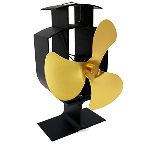 Stove Fan Maserfaliw Large Airflow 3 Blades Heat Powered Gas Wood Log Burner Home Fireplace Stove Fan - Golden, Home Life, Office, Holiday Gifts. from Maserfaliw