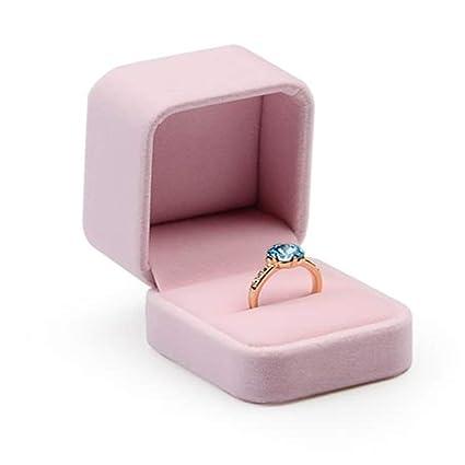 Oirlv Pink Velvet Ring Box Wedding Jewellery Gift Boxes Ring Bearer