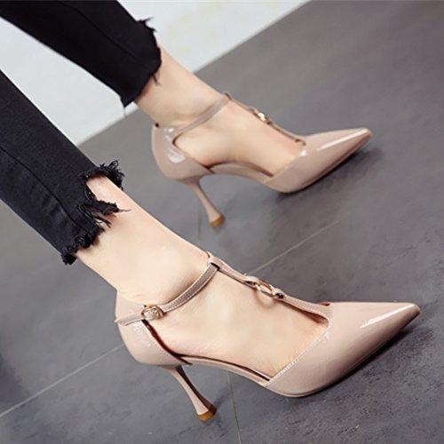 YMFIE La Primavera y el Verano de Estilo Europeo y Finos Zapatos Puntiagudos Zapatos de tacón Alto de Moda Solo Zapatos Sandalias de Damas,38 UE 36 EU