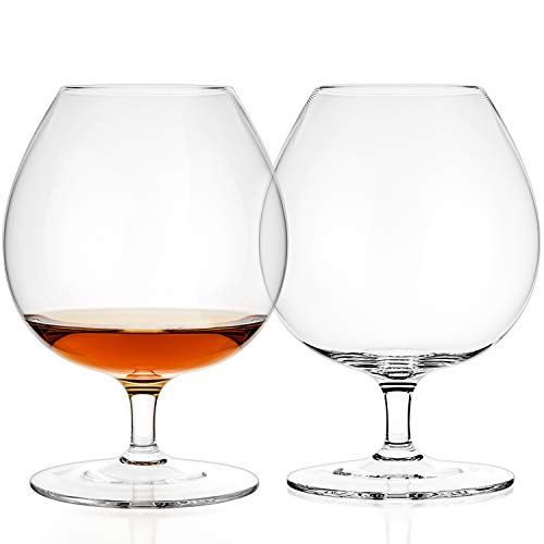(Luxbe - Brandy & Cognac Crystal Glasses Snifter, Set of 2 - Large Handcrafted - 100% Lead-Free Crystal Glass - Great for Spirits Drinks - Bourbon - Wine -)