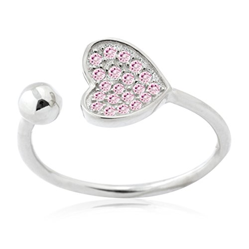 UNICORNJ Sterling Silver 925 Heart Open Ring with Pave Pink Cubic Zirconia Adjustable