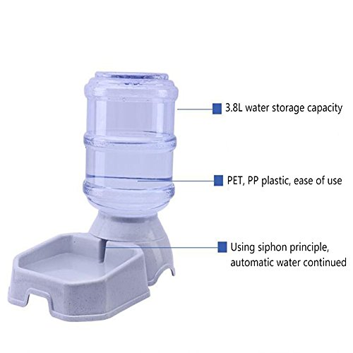 CW&T WW Pet Automatic Feeder Waterer Square3.8L Large Capacity Gravity Replenishment Dog Cat Food Dispenser,Beige by CW&T (Image #2)