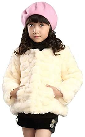 Amazon.com: Hhdress Girls Faux Rabbit Fur Coat Kids Jacket Juniors Warm Outwear: Clothing