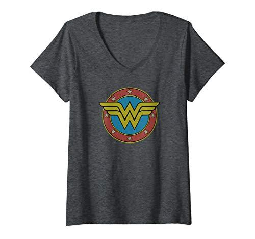 Womens Wonder Woman Vintage Emblem V-Neck T-Shirt