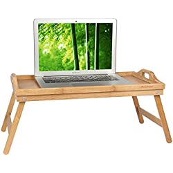 Bed Tray Table with Folding Legs,Serving Breakfast in Bed or Use As a TV Table, Laptop Computer Tray, Snack Tray with 100% Natural Bamboo by Artmeer (20.5 x 12.2 x 2.8)