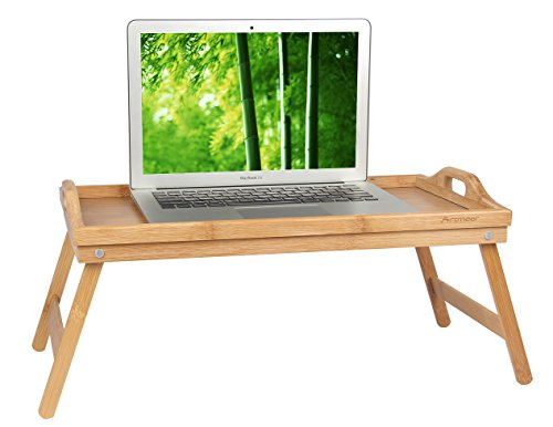 Bed Tray Table with Folding Legs,Serving Breakfast in Bed or Use As a TV Table, Laptop Computer Tray, Snack Tray with Moso Natural Bamboo by Artmeer (Tray On Breakfast A)
