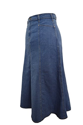 Ice Cool Ladies Plus Size Flared Stonewash Denim Maxi Skirt - Sizes 16-35