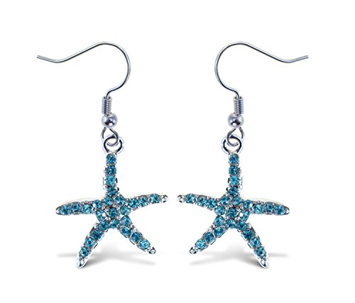 Puzzled Turquoise Blue Starfish Fish Hook Earrings, 1.5 Inch Fashionable & Elegant Jewelry Rhinestone Studded Earring For Casual Formal Attire Ocean Life Themed Girls Teens Women Fashion Ear Accessory