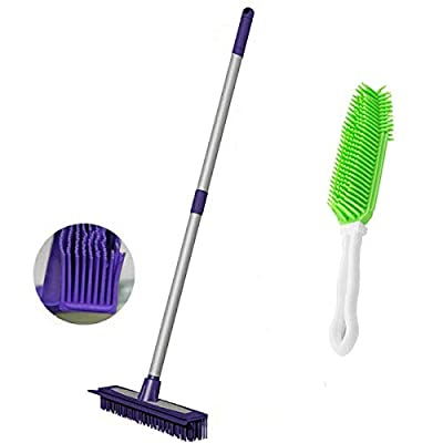 Rubber Push Broom-Extra Extendable Telescopic Long Handle Bristles Squeegee Broom