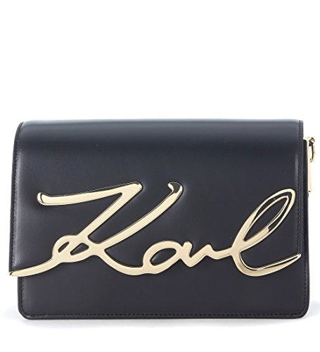 Karl Lagerfeld Umhängetasche Signature in Leder Schwarz