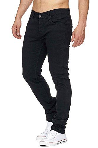 MADDU Herren Jeanshose Freizeit Clubwear Slim & Skinny Fit Jeans Schwarz