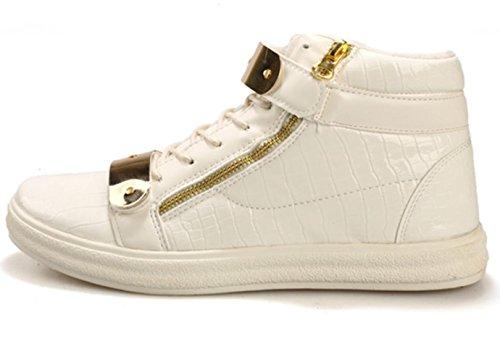 CSDM Uomo Casual Fashion Aiuto Aiuto Piattaforma di metallo Scarpe da tavolo Scarpe da basket Pattini correnti di sport , white , 44