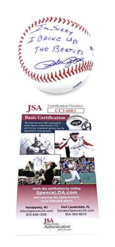 Autographs The Beatles - Pete Rose Cincinnati Reds Signed Autograph Official MLB Baseball I BROKE UP THE BEATLES Inscribed JSA Witnessed Certified