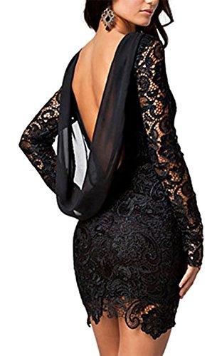 Made2envy Crochet Lace Open Back Vintage Dress (S, Black) LC21138S