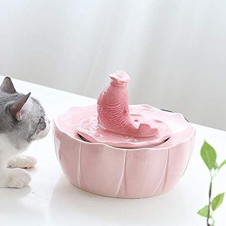 Bebedero Gatos La Fuente de Agua para Mascotas con diseño de prevención de Quemado en seco, Limpia purificador de Agua de cerámica Fresca purificada para Gatos y Perros, con filtros (Color :