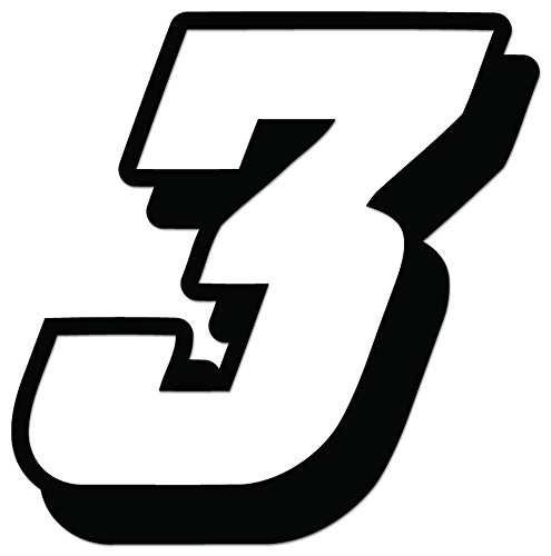 Racing Number 3 Nascar Indy Go Kart Style16 Vinyl Decal Sticker For Vehicle Car Truck Window Bumper Wall Decor - [4 inch/10 cm Tall] - Gloss WHITE ()
