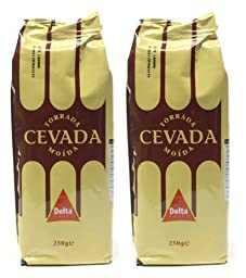 Delta Roasted Ground Barley Coffee Substitute Orzo Cevada Caffeine Free 250g (Pack of 2)
