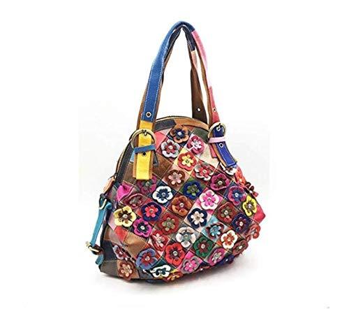 UHUBBG WomenS Bag Shoulder Messenger Bag Flower Color Matching Fashion Stitching 42X40X24Cm